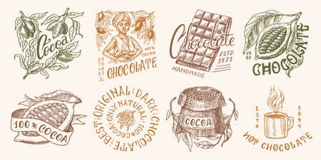 Cocoa Beans and Chocolate. Woman and cup of drink. Vintage badge set for t-shirts, typography, shop or signboards. Hand Drawn engraved sketch. Vector illustration.