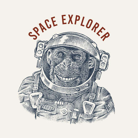 Monkey astronaut in a spacesuit label. Chimpanzee Spaceman dressed in Suit. Fashion Animal character. Hand drawn sketch. Vector engraved illustration for T-shirts or tattoo.