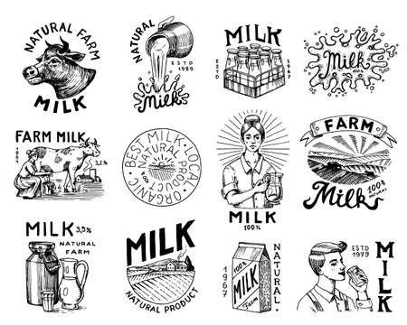 Milk set. Cow and woman farmer, milkmaid and jug, blot and bottles, packaging and meadow, man holds a glass. Ilustração