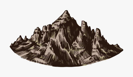 Mountain peaks, vintage rock, old highlands range. Hand drawn vector outdoor sketch in engraved style. Vector illustration for Hiking card, climbing banner, tattoo or label.