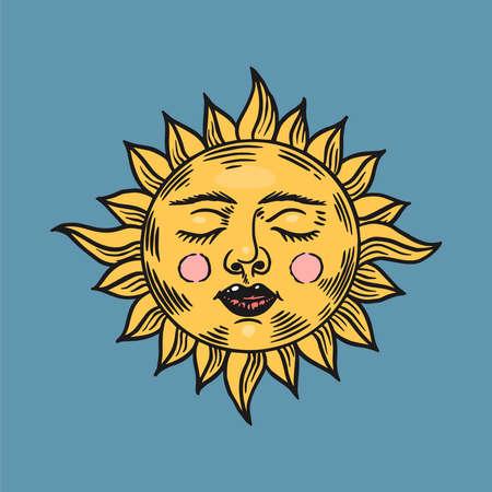 Mystische schlafende Sonne. Symbol für Astronomie, Alchemie und Astrologie. Magische Zigeuner-Vektor-Illustration. Handgezeichnete gravierte Doodle-Skizze für Tattoo oder T-Shirt..