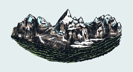 Mountain peaks, vintage rock, old highlands range. Chamonix-Mont-Blanc. Hand drawn vector Alps sketch in engraved style. Vector illustration for Hiking card, climbing banner, tattoo or label.