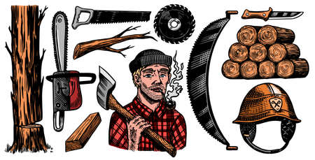 Lumberjack with axe. Woodsman character and work tools Set. Downed logs, Saw or chainsaw. Hand drawn elements. Logger or axeman or woodcutter. Vector illustration. Engraved Monochrome Vintage Sketch.