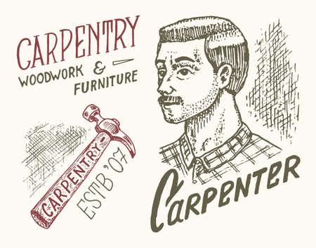 Hammer and Woodworker carpenter man or joiner. Labels set for Workshop or signboards. Banque d'images - 149349322