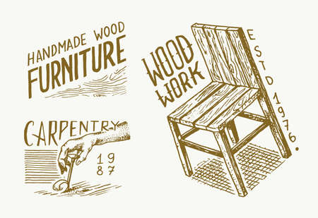 Wooden chair label for Workshop or signboard. Vintage   Badges for typography or t-shirts. Hand Drawn engrave sketch.