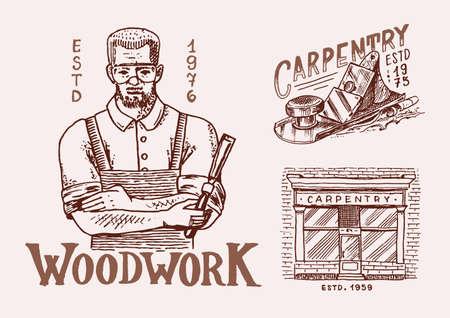Woodworker carpenter man or joiner. Labels set for Workshop or signboards.