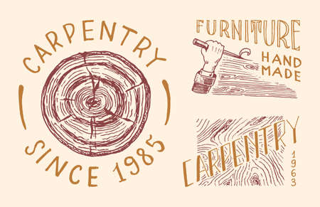 Cut wood and hand with tool. Labels set for Workshop or signboards. Vintage Badges for typography or t-shirts. Drawn engrave sketch.
