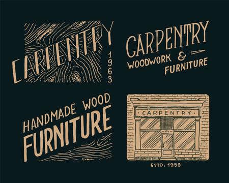 Wooden labels for Workshop or signboards. Vintage   Badges for typography or t-shirts. Hand Drawn engrave sketch. Illustration