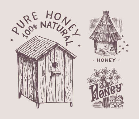 Hive and apiary and flowers. Honey and bees labels. Vintage  typography, shop or signboards. Badge for t-shirts. Hand Drawn engrave sketch. Vector illustration. 向量圖像
