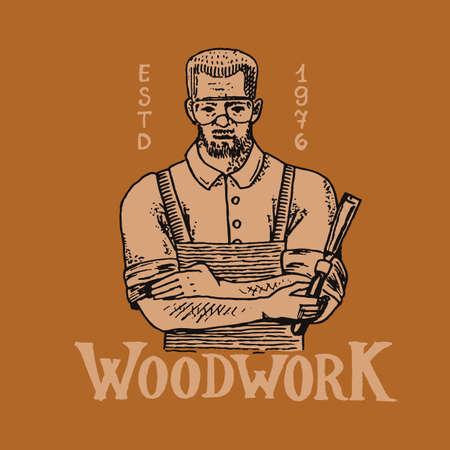 Woodworker carpenter man or joiner. Wood label for Workshop or signboards.