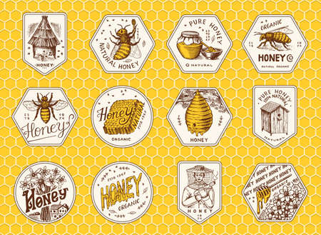 Honey and bees stickers set. Beekeeper man and Honeycombs and hive and apiary. Vintage  typography, shop or signboards. Badge for t-shirts. Hand Drawn engrave sketch. Vector illustration. 向量圖像