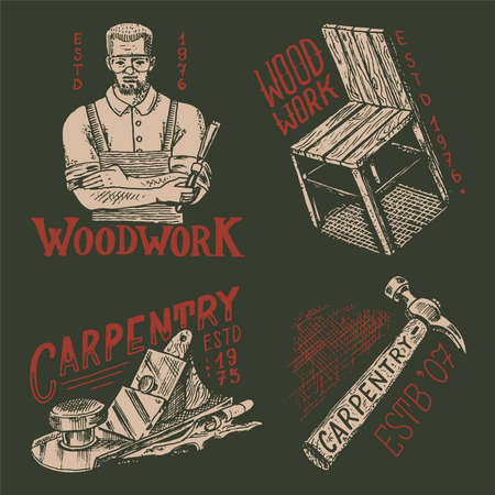 Cut wood and Woodworker carpenter man or joiner. Hammer and chair. Labels set for Workshop or signboards. Banque d'images - 149349622