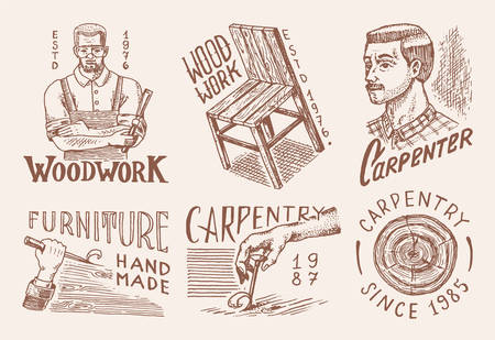 Wooden labels for Workshop or signboards. Woodworker carpenter man, joiner and furniture and chair.