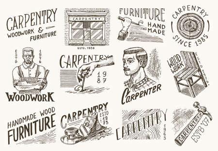 Wooden labels set for Workshop or signboards. Woodworker carpenter man, joiner and furniture. Hammer and chair. Banque d'images - 149349458
