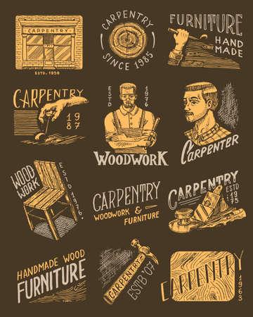 Wooden labels set for Workshop or signboards. Woodworker carpenter man, joiner and furniture. Hammer and chair. Illustration