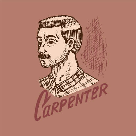 Woodworker carpenter man or joiner. Wood label for Workshop or signboards.