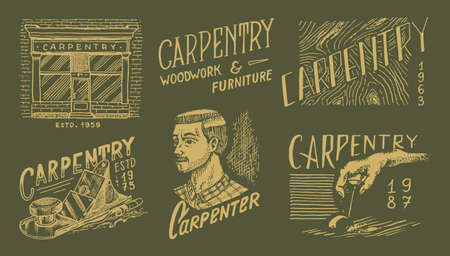 Wooden labels set for Workshop or signboards. Woodworker carpenter man, joiner and furniture. Vintage  Badges for typography or t-shirts. Hand Drawn engrave sketch. Banque d'images - 149349462