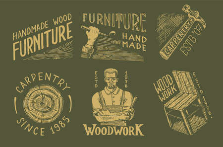 Wooden labels set for Workshop or signboards. Woodworker carpenter man, joiner and furniture. Hammer and chair. Illustration