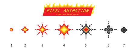 Nuclear explosion. Pixel art 8 bit fire objects. Game icons set. Comic boom flame effects. Bang burst explode flash dynamite with smoke. Digital icons. Animation Process steps.  イラスト・ベクター素材