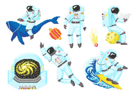 Pixel art astronaut. Spaceman 8 bit objects. Space art, digital icons. cosmonaut on a whale, moon and wave. Retro assets. Vintage game style. Set of characters. Vector illustration.