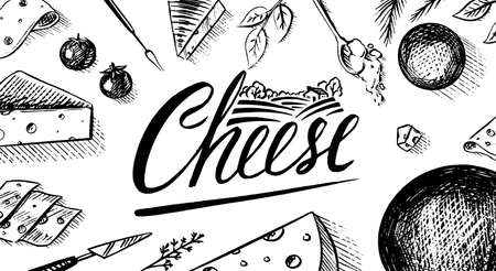 Cheese Poster or banner. Slices of Edam and Mozzarella for market or grocery store. Cheeseboard and Fresh organic milk background. Vector Engraved hand drawn sketch for label or menu. Illustration