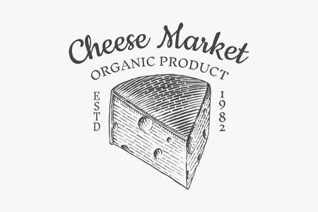 Cheese badge. Vintage logo for market or grocery store. Fresh organic milk. Vector Engraved hand drawn sketch for label, emblem, poster or menu Çizim