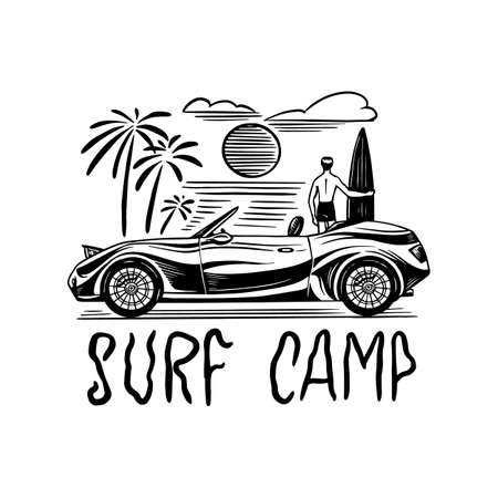 Surf badge, Vintage Surfer logo. Retro Wave and palm. Summer California and San Francisco. Man on the surfboard, beach and sea. Guy with a Guitar. Engraved emblem hand drawn. Banner or poster