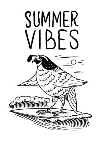 Surf badge, Vintage Surfer logo. Retro Wave and Bird. Summer California and San Francisco. Engraved emblem hand drawn. Banner or poster