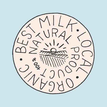 Milk label. Vintage meadow logo for shop. Badge for t-shirts. Hand Drawn engrave sketch. Vector illustration Vettoriali