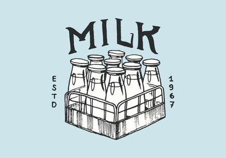Milk label. Vintage Bottles logo for shop. Badge for t-shirts. Hand Drawn engrave sketch. Vector illustration Vettoriali
