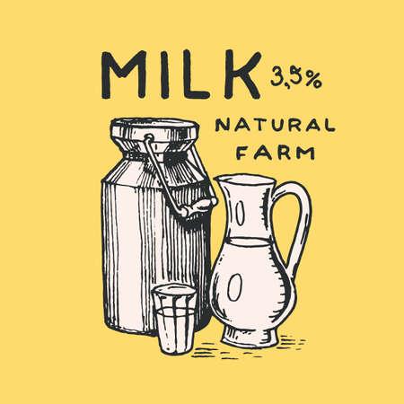 Milk can label. Jug and glass. Vintage logo for shop. Badge for t-shirts. Hand Drawn engrave sketch. Vector illustration Vettoriali
