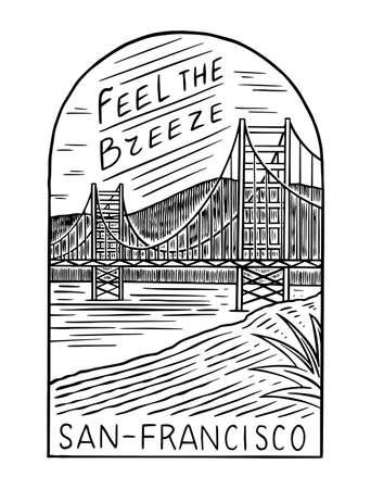 Retro Summer San Francisco. Surf badge, Vintage Surfer logo. Engraved emblem hand drawn. Banner or poster