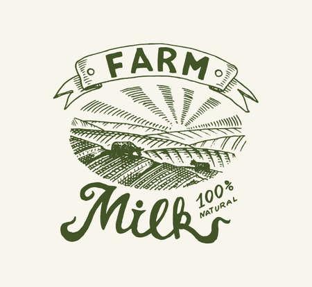 Milk label. Retro meadow or rural. Vintage logo for shop. Farm Badge for t-shirts. Hand Drawn engrave sketch. Vector illustration Vettoriali