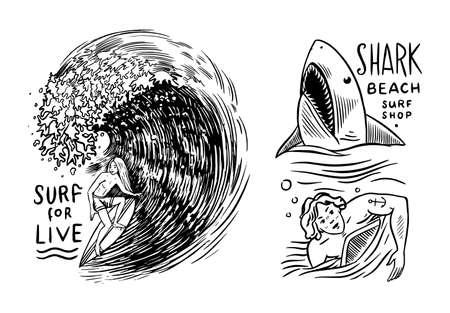 Surf badge. Retro Wave. Vintage Surfer logo. Summer California labels. Man on the surfboard, beach and sea. Engraved emblem hand drawn. Banner or poster. Vector illustration Ilustracja