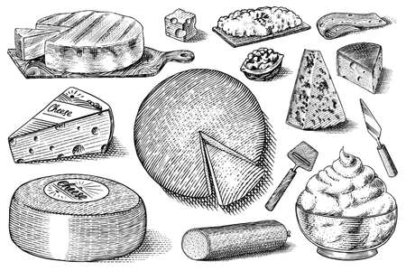 Cheese set. Slices of Mascarpone Bleu de Gex Edam Camembert Mozzarella for market or grocery store. Cheeseboard and Fresh organic milk. Vector Engraved hand drawn sketch for label, poster or menu
