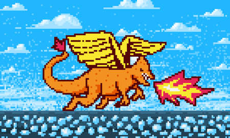 Fire dragon and clouds. Game concept. Pixel art 8 bit objects. Retro digital game assets. Fashion icon. Vintage Computer video background Ilustracja