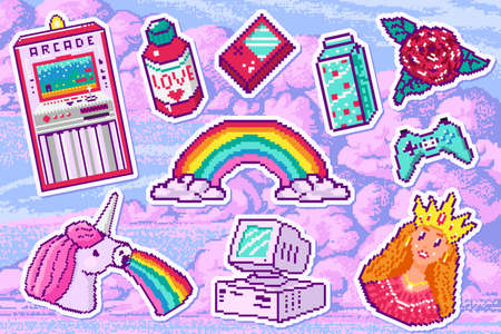 Pixel art 8 bit object for stickers. Retro digital game assets. Set of Pink fashion icons. Vintage girly stickers. Arcades Computer video. Characters pony rainbow unicorn Ilustracja