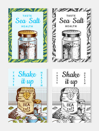 Sea salt posters and banners. Vintage labels. Glass bottles, packaging and and leaves, wooden spoons, powdered powder, spice in the hand. Engraved hand drawn sketch background Ilustrace