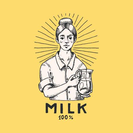 Milk label. Woman farmer, milkmaid and or bottle. Vintage farm logo for rural shop. Badge for t-shirts. Hand Drawn engrave sketch. Vector illustration.