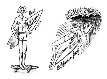 Surf badge, Vintage Surfer logo. Retro Wave. Summer California. Man on the surfboard and sea. Engraved emblem hand drawn. Banner or poster.