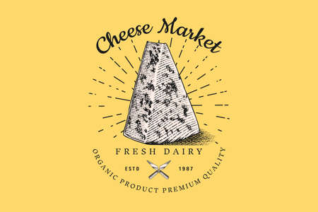 Cheese slice badge. Vintage logo for market or grocery store. Fresh organic milk. Vector Engraved hand drawn sketch for label, emblem, poster or menu. Illusztráció