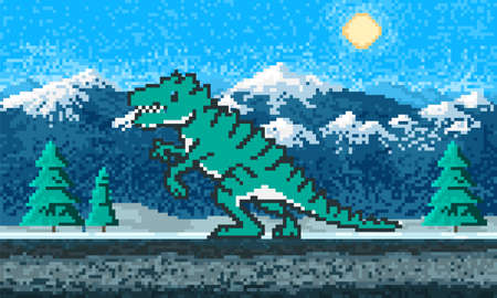 Fire dinosaur and Mountain landscape. Game concept. Pixel art 8 bit objects. Retro digital game assets. Fashion icon. Vintage Computer video background.