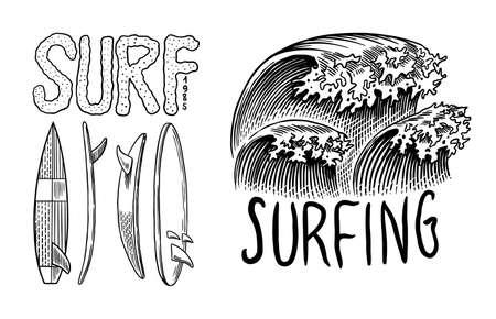 Surf badge. Retro Wave. Vintage Surfer logo. Summer California labels. Surfboard and sea. Engraved emblem hand drawn. Banner or poster.