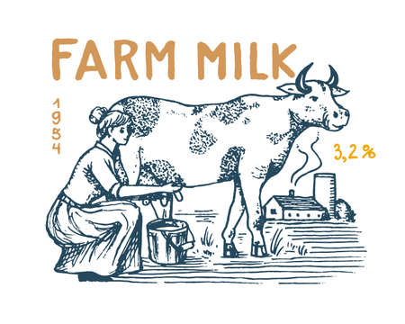 Milk label. Cow and woman farmer, milkmaid and jug and meadow. Farm Vintage logo for shop. Rural Badge for t-shirts. Hand Drawn engrave sketch. Vector illustration.
