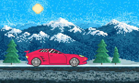 Red sports car and Mountain landscape. Game concept. Pixel art 8 bit objects. Retro digital game assets. Fashion icon. Vintage Computer video background.