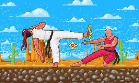 Japanese Karate. Pixel art 8 bit characters objects. Fight or Battle in the game concept. Desert Landscape with Clouds. Retro digital game assets. Fashion icon. Vintage Computer video.