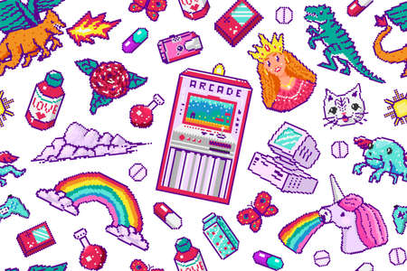 Pixel art 8 bit objects Seamless pattern. Retro digital game assets. Set of Pink fashion icons. Vintage girly stickers. Arcades Computer video. Characters dinosaur pony rainbow unicorn dragon.