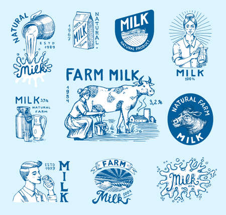 Milk set. Cow and woman farmer, milkmaid and jug, blot and bottles, packaging and meadow, man holds a glass. Vintage logo for shop. Badge for t-shirts. Hand Drawn engrave sketch. Vector illustration.
