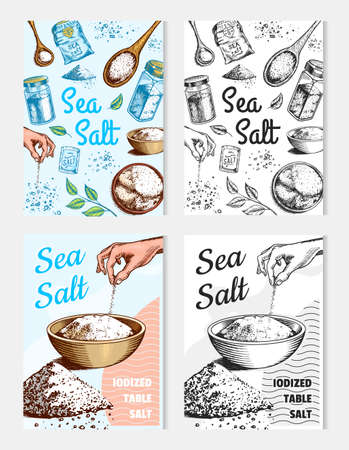 Sea salt posters and banners. Vintage labels. Glass bottles, packaging and and leaves, wooden spoons, powdered powder, spice in the hand. Engraved hand drawn sketch background.