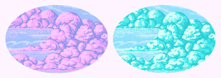 Pixel art clouds. 8 bit objects. Pink magic sky background. Retro game assets. Dreamy video arcade. Vector illustration.